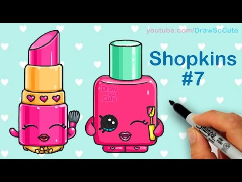 How To Draw Shopkins Lippy Lips And Polly Polish Step By Cute
