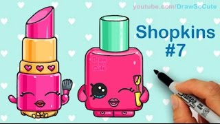 How to Draw Shopkins Lippy Lips and Polly Polish step by step Cute