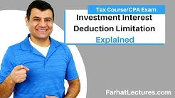 Investment Interest Deduction  Limitation | Schedule A | Itemized Deduction | Income Tax course
