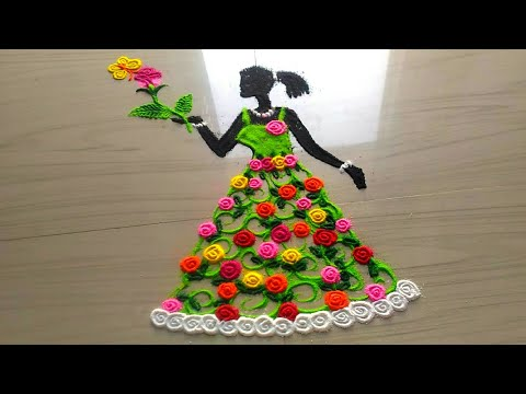 BEAUTIFUL AWESOME womens day rangoli designs by jyoti Rathod