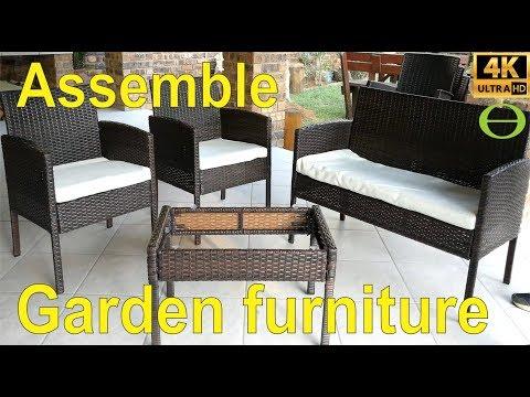 Rattan cube garden furniture patio set