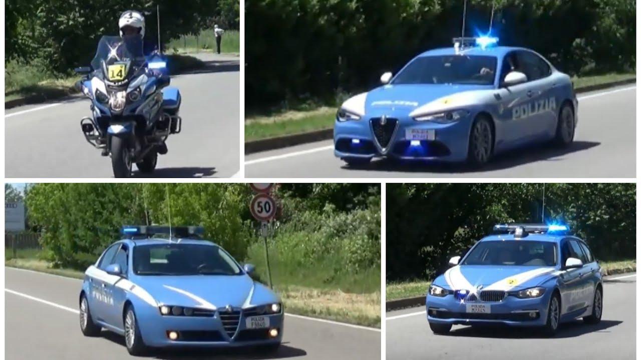 Compilation scorta polizia di stato al giro d 39 italia for Polizia di stato roma permesso di soggiorno