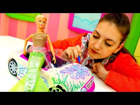 Детское творчество и игры для девочек: фломастеры и новая машина для Барби! Новинки на ютуб