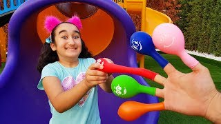 Kids Songs I Gamze finger is learning colors with family song and balloon