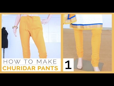 Class 28 - Part 1 Easy DIY Churidar / gathering Pants measurement, draft, cutting and Stitching