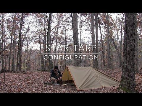 Solo Tarp Shelter, Star Configuration, Bushcraft