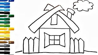 How to Draw a House for Kids 💚💙💜 House Drawing for Kids | House Coloring Book Fun Painting