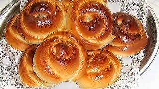 Булочки.  Рецепт  булочек розы с вкуснейшей начинкой.Приготовление  тесто и начинки .