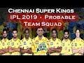 IPL 2019 Chennai Super Kings Team Squad | Indian Premium League 2019 | CSK Probable Team 2019