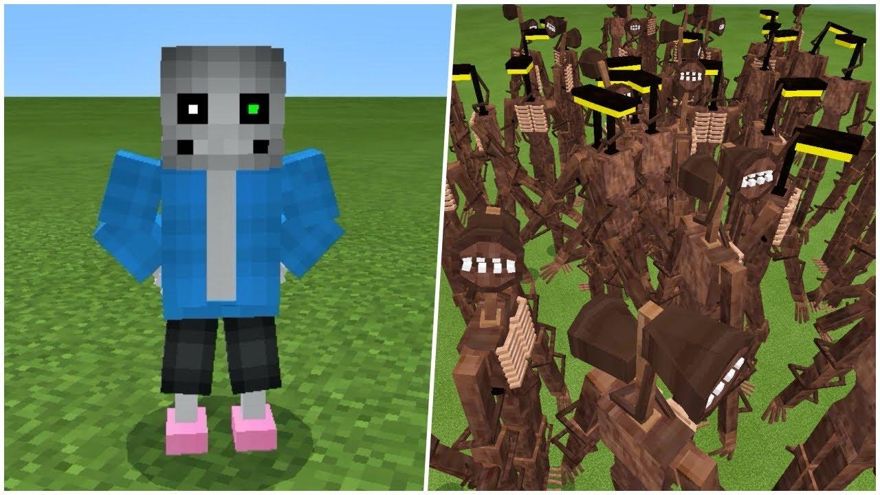 Siren Head, Light Head x50 vs. Sans in Minecraft PE | Trevor Henderson's Creatures MCPE/MCBE Addon