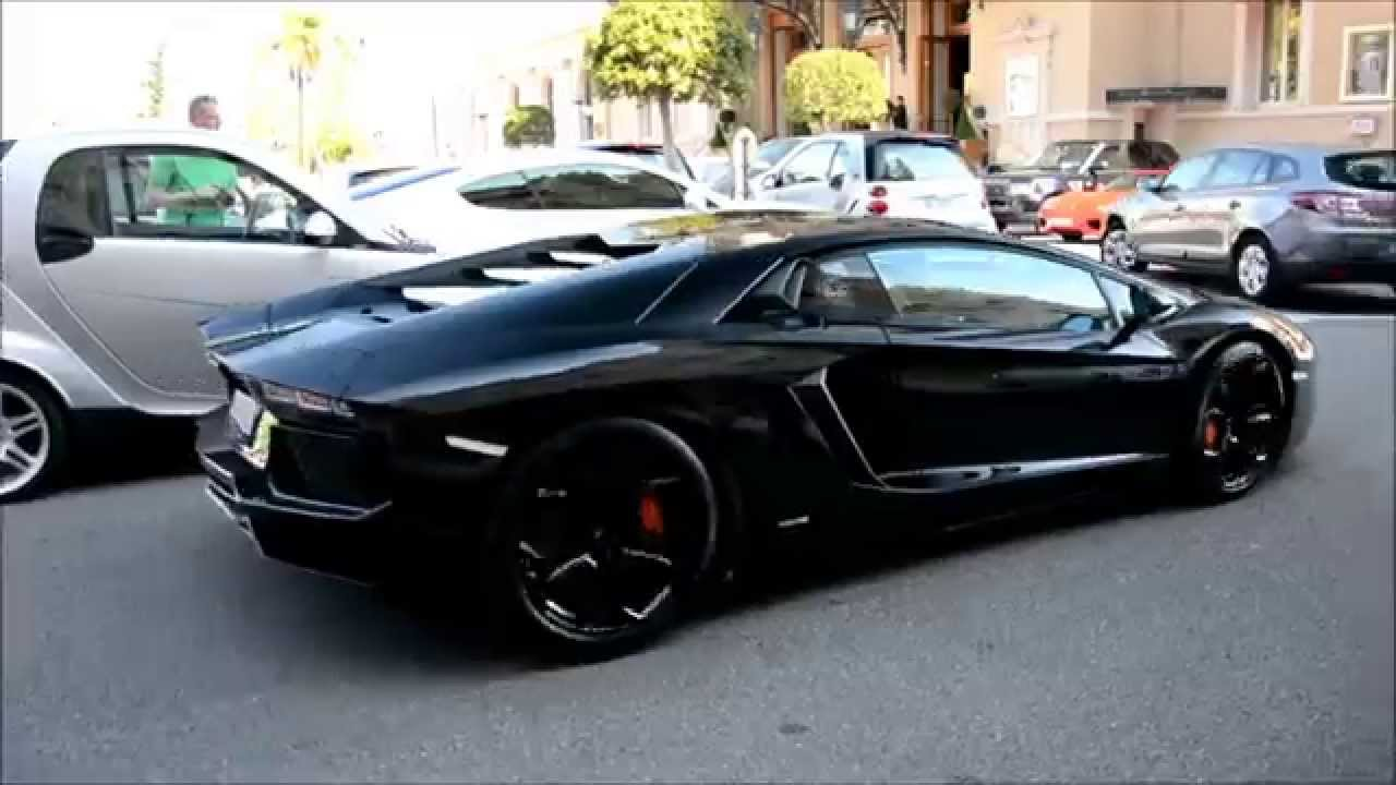 Full Black Lamborghini Aventador Lp700 4 In Monaco Youtube