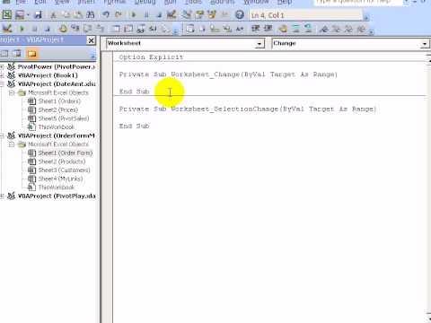 Excel VBA - Macro Runs When Worksheet Changed - YouTube