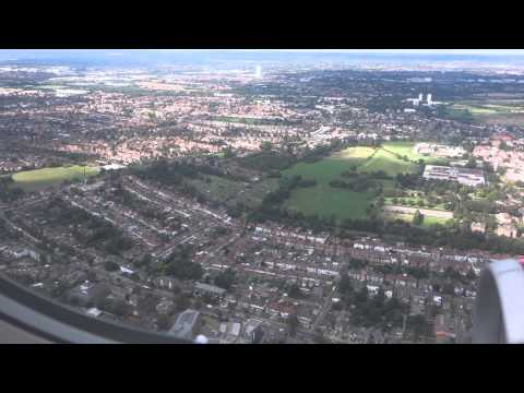 Approach over London and landing at Heathrow (Full HD)