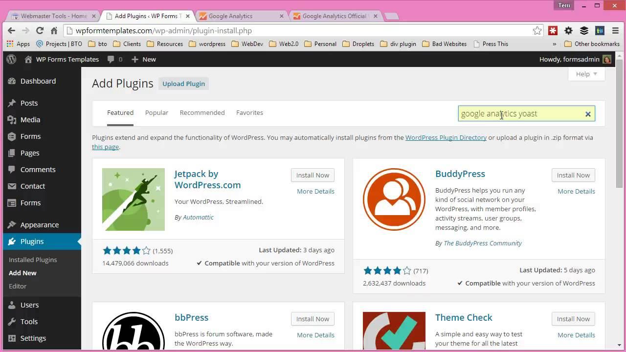 set up google analytics yoast plugin youtube