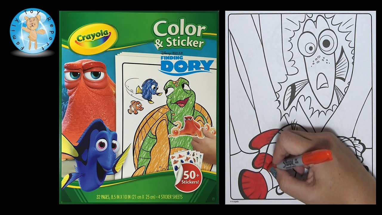 Crayola Disney Pixar Finding Dory Color Sticker Coloring Set Speed Color -  Family Toy Report