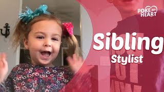 Little Girl Asks Big Brother to Style Her Hair