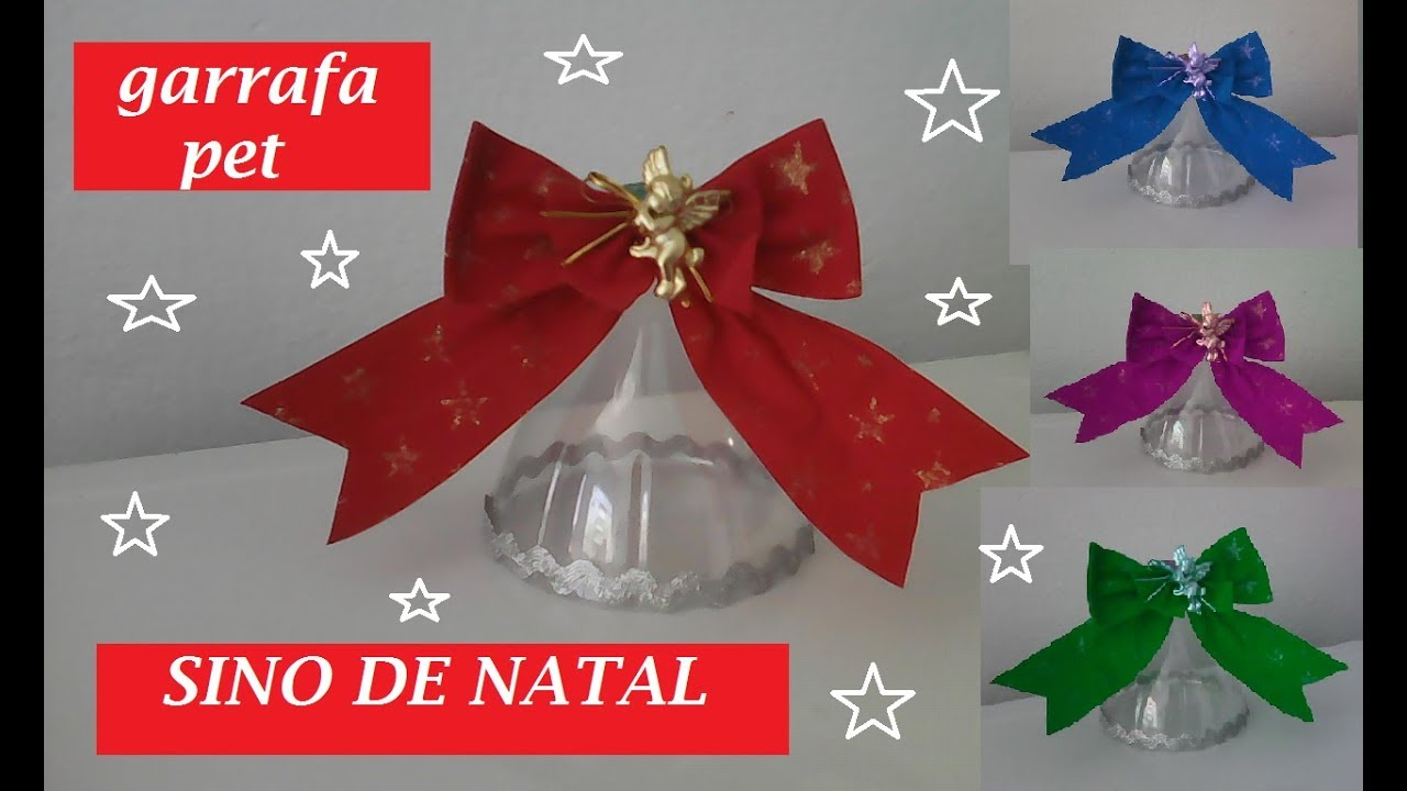 Aparador Sala De Estar ~ Sino de garrafa pet fácil, decoraç u00e3o, enfeite de natal, reciclagem,festa,#artesanato YouTube