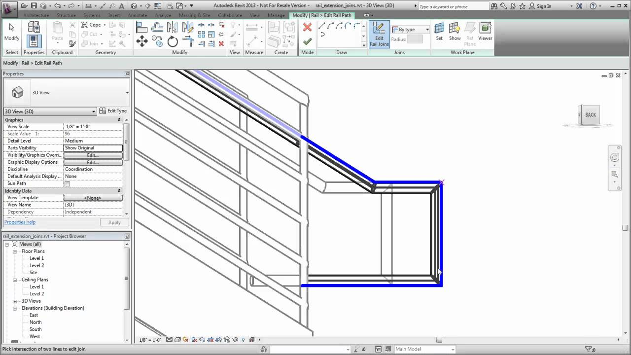 Autodesk Revit Changing A Rail Join Youtube