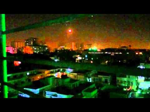 New year 2016 celerbations with fire works and ariel firing in Karachi Pakistan