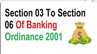 Section 03 To Section 06 Of Financial Institution Recovery Of Finance Ordinance 2001