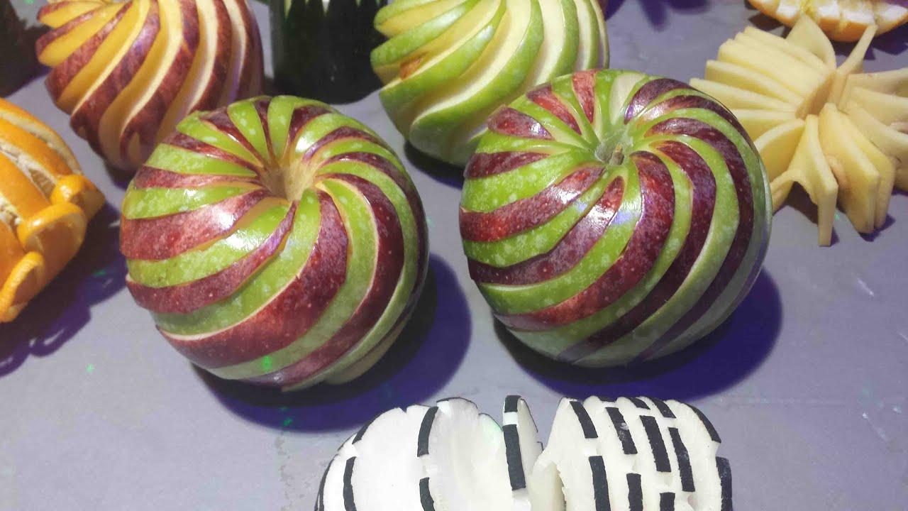 Carving apple spiral sculpter une pomme en spirale youtube