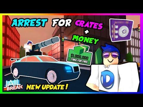 🔴ROBLOX JAILBREAK!! NEW UPDATE! ARREST ME FOR CRATES+MONEY!! 😃 | +GIVEAWAY