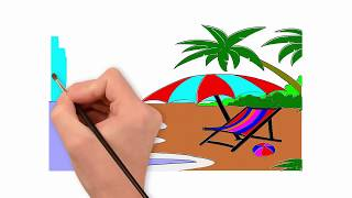 How to draw beach draw to coconut tree and umbrella drawing