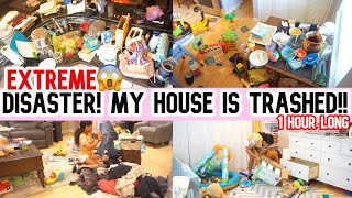 MY HOUSE IS TRASHED// EXTREME DISASTER //CLEAN WITH ME //CLEANING MOTIVATION//SAHM
