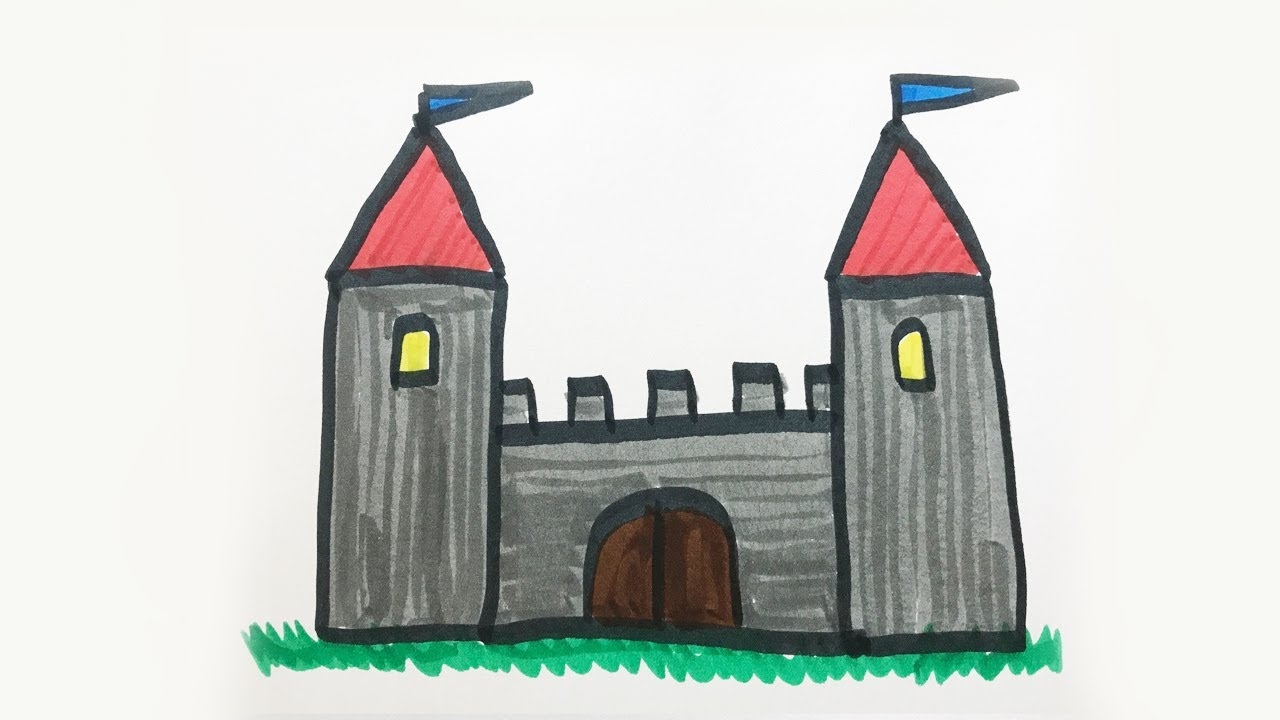 how to draw and color a castle for kids youtube