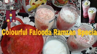 Colourful Falooda in English/Homemade Falooda with icecream/How to make Custard & Roohafza Falooda