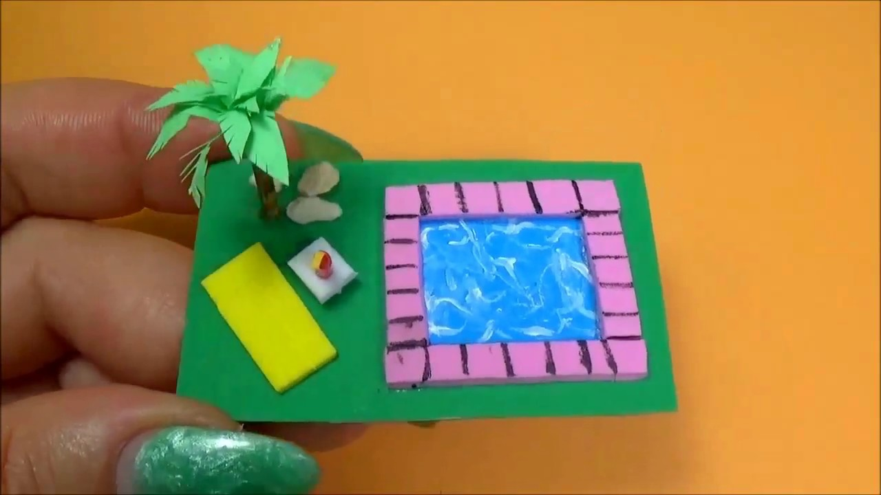 Miniature swimming pool diy │Doll Stuff - YouTube