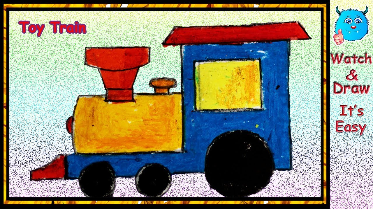 Easy Toys Drawing How to Draw A Train Step by Step in Oil Pastel
