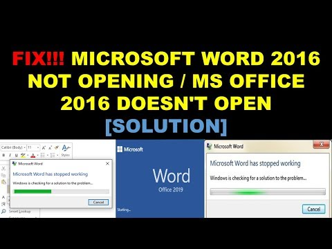 FIX Microsoft Word 2016 2019 Not Opening Ms Office 2016 2019 Doesn't