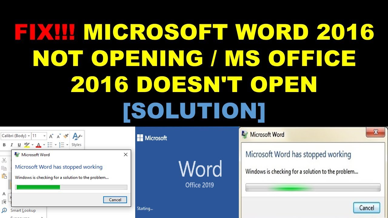 FIX Microsoft Word 2016  2019 Not Opening  Ms Office 2016 2019 Doesn't Open  Solution
