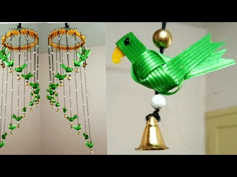 Parrot Wind Chime / Beautiful Wall Hanging From Fish Wire/ Fish Tape
