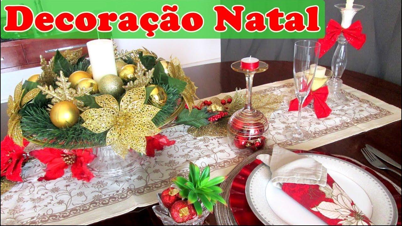 Decoraç u00e3o de mesa de Natal fácil, bonita e barata YouTube -> Decoração Ceia De Natal Simples