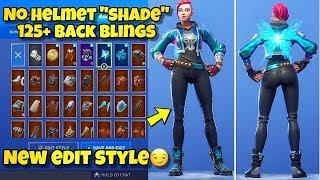 "NEW NO HELMET ""SHADE"" SKIN Showcased With 125+ BACK BLINGS! Fortnite Battle Royale BLUE SHADE STYLE"