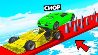 PUSHING CHOP INTO DEATH SPIKES WITH RAMP CAR GTA 5