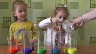 ДЕТСКИЙ эксперимент ЦВЕТНАЯ ПЕНА. Видео для детей.