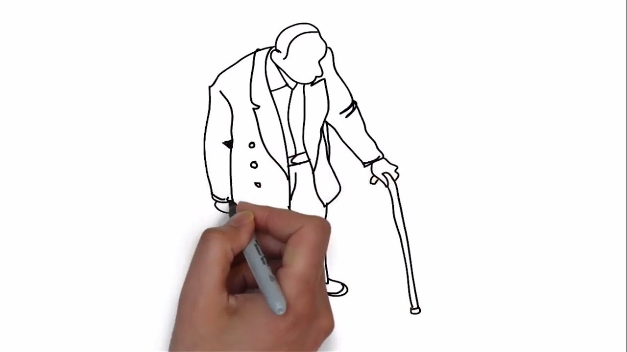 How To Draw A Old Man Step By Step Easy Drawing Tutorial For Kids