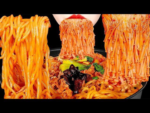 ASMR SPICY ENOKI MUSHROOMS MALATANG 마라탕 팽이버섯 먹방 咀嚼音 マーラータン, えのき EATING SOUNDS MUKBANG