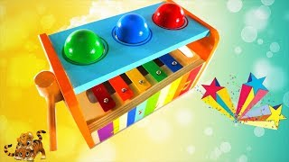 Teach Kids  Colors with Musical Pounding Table Bench - Educational video for children |