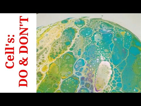 Acrylic pouring:  CELLS - DO AND DON'T - example flip cup in Fluid Art