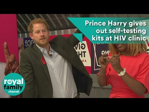 Harry gives out self-testing kits at HIV clinic