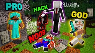 Minecraft NOOB vs PRO vs HACKER vs GOD : SLENDERMAN HORROR GAME Challenge in Minecraft (Animation)