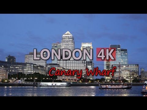 Ultra HD 4K London Canary Wharf Travel Financial District Day Night UK UHD Video Stock Footage