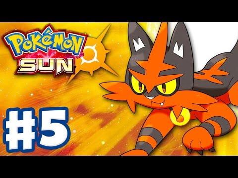 Pokemon Sun and Moon - Gameplay Walkthrough Part 5 - Litten Evolves! Torracat! (Nintendo 3DS)