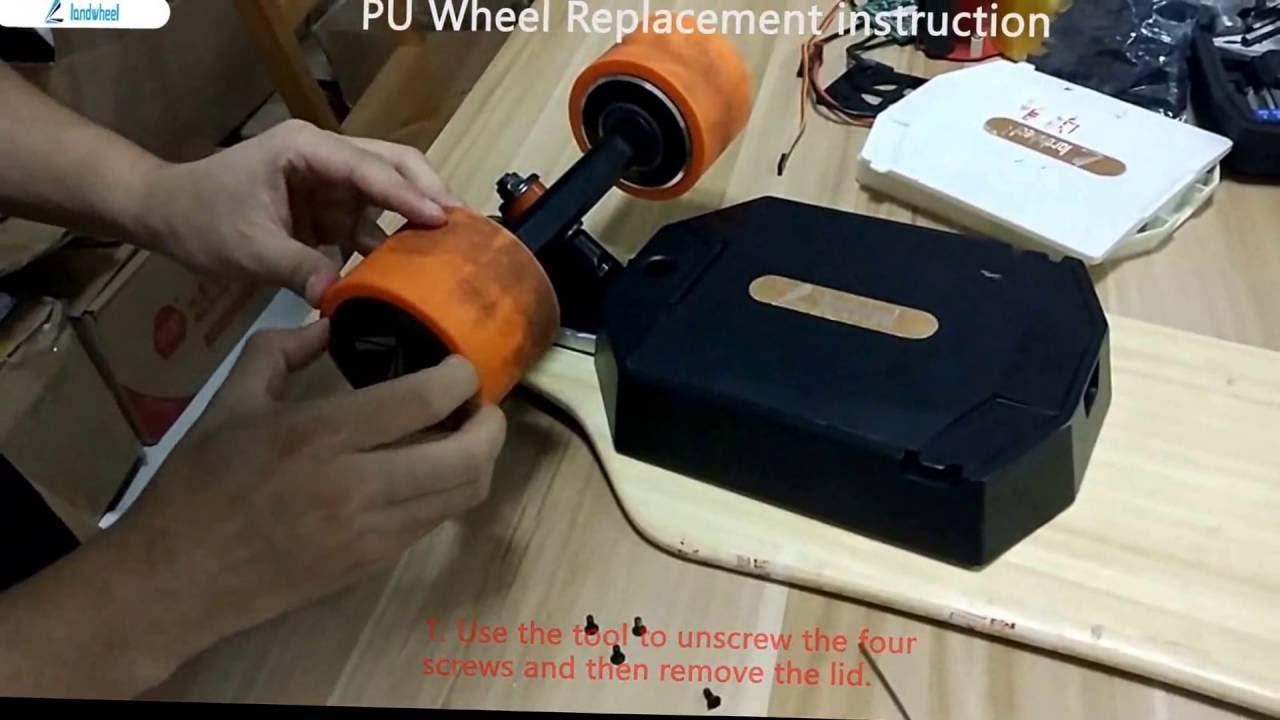Landwheel Electric Skateboard Replace The Pu Wheel Youtube