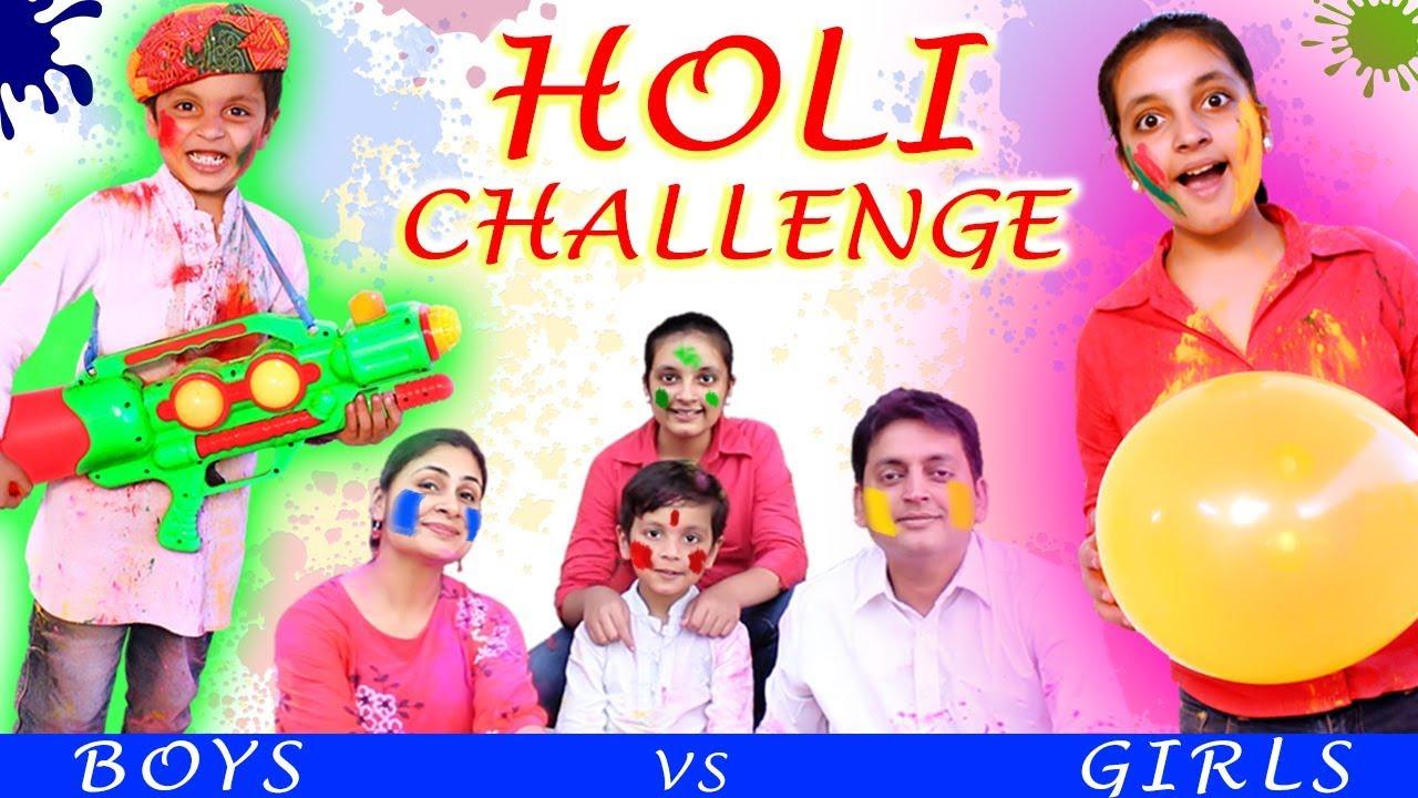 HOLI CHALLENGE | BOYS vs GIRLS #Bloopers #Family #Colors | Aayu and Pihu Show