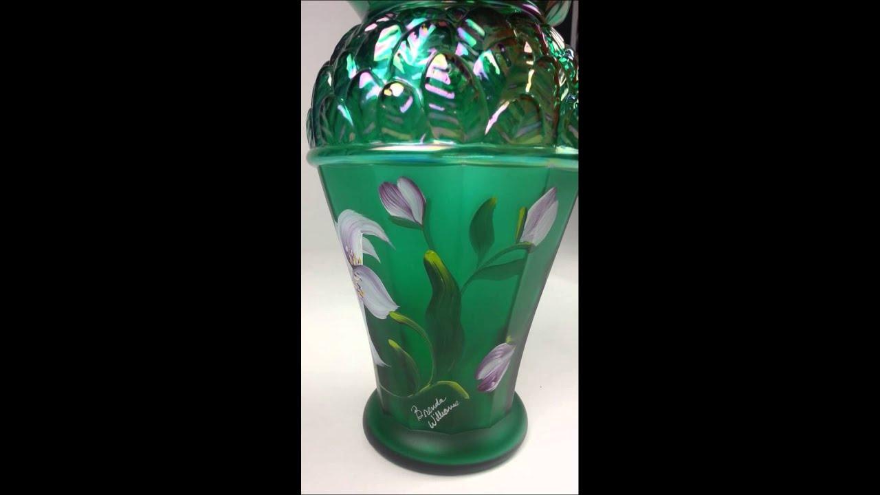 Fenton Glass Collectible Green Iridescent Vase Designer Showcase